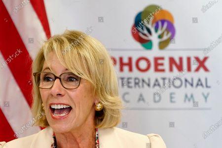 Secretary of Education Betsy DeVos speaks, at the Phoenix International Academy in Phoenix