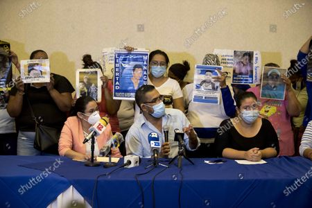 Former political prisoner Jaime Navarrete (C), along with relatives of political prisoners participate in a press conference to demand OAS (Organization of American States) not give 'more truce' to country's President, Daniel Ortega, and to declare his Government 'illegitimate', in Managua, Nicaragua, 15 October 2020.