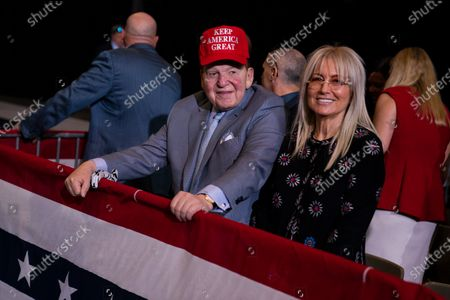 Businessman and Republican donor Sheldon Adelson waits for the arrival of President Donald Trump to a campaign rally at the Las Vegas Convention Center in Las Vegas. Adelson and his wife have given $75 million to a new super PAC that is attacking Democratic nominee Joe Biden, an investment made amid GOP concern that President Donald Trump's campaign is flailing and might not be able to correct course