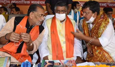 Incumbent MLA and BJP candidate Nitin Naveen for Bankipur assembly seat along with Union minister Ravi Shankar Prasad and others after filing nomination, at Vidyapati Bhawan on October 15, 2020 in Patna, India.