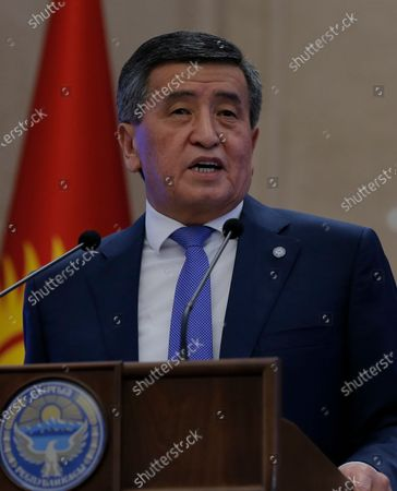 President of Kyrgyzstan Sooronbay Jeenbekov attends a parliamentary session at the Ala-Archa residence in Bishkek, Kyrgyzstan, 16 October 2020. Jeenbekov resigned on 15 October amid mounting protests over the result of the elections held on 04 October.