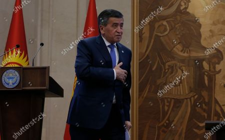 President of Kyrgyzstan Sooronbay Jeenbekov arrives at a parliamentary session at the Ala-Archa residence in Bishkek, Kyrgyzstan, 16 October 2020. Jeenbekov resigned on 15 October amid mounting protests over the result of the elections held on 04 October.