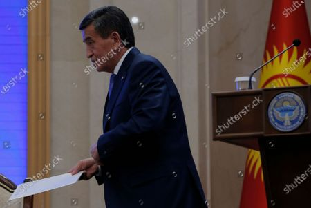 President of Kyrgyzstan Sooronbay Jeenbekov leaves after a parliamentary session at the Ala-Archa residence in Bishkek, Kyrgyzstan, 16 October 2020. Jeenbekov resigned on 15 October amid mounting protests over the result of the elections held on 04 October.