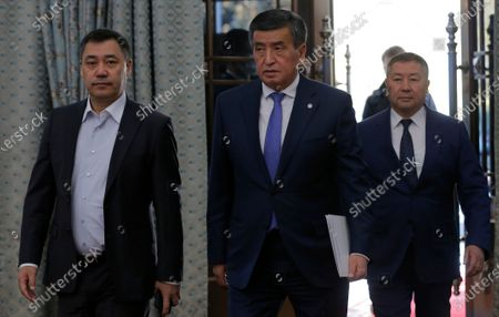 President of Kyrgyzstan Sooronbay Jeenbekov (C) arrives at a parliamentary session at the Ala-Archa residence in Bishkek, Kyrgyzstan, 16 October 2020. Jeenbekov resigned on 15 October amid mounting protests over the result of the elections held on 04 October.