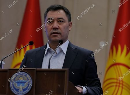 Stock Photo of Kyrgyz Prime Minister Sadyr Japarov speaks during an extraordinary session of the Jogorku Kenesh for the resignation of President Sooronbay Jeenbekov (not pictured), in Bishkek, Kyrgyzstan, 16 October 2020. Jeenbekov resigned on 15 October amid mounting protests over the result of the elections held on 04 October.