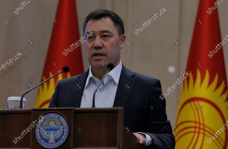 Stock Image of Kyrgyz Prime Minister Sadyr Japarov speaks during an extraordinary session of the Jogorku Kenesh for the resignation of President Sooronbay Jeenbekov (not pictured), in Bishkek, Kyrgyzstan, 16 October 2020. Jeenbekov resigned on 15 October amid mounting protests over the result of the elections held on 04 October.