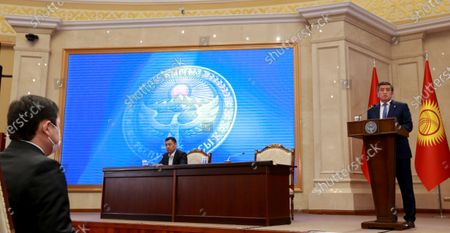 Stock Picture of President of Kyrgyzstan Sooronbay Jeenbekov (R) attends a parliamentary session at the Ala-Archa residence in Bishkek, Kyrgyzstan, 16 October 2020. Jeenbekov resigned on 15 October amid mounting protests over the result of the elections held on 04 October.