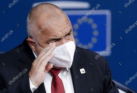 Bulgaria's Prime Minister Boyko Borissov arrives for an EU summit in Brussels, . European Union leaders meet for the second day of an EU summit, amid the worsening coronavirus pandemic, to discuss topics on foreign policy issues