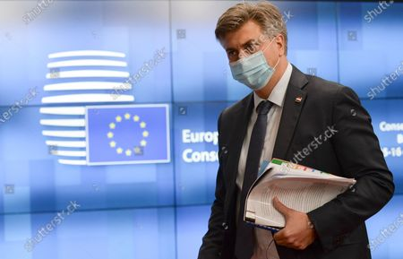 Croatia's Prime Minister Andrej Plenkovic attends the European Union leaders face-to-face summit in Brussels, Belgium, 16 October 2020.