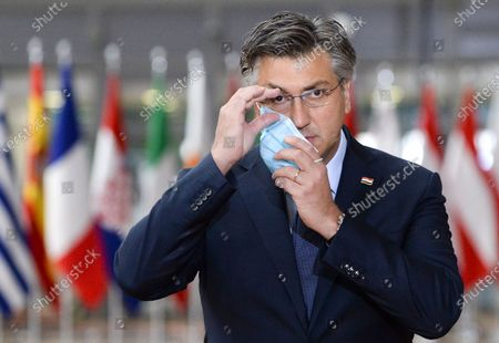 Croatia's Prime Minister Andrej Plenkovic arrives for the second and last day of a face-to-face EU summit in Brussels, Belgium, 16 October 2020.
