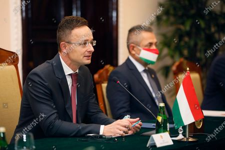 Hungarian Foreign Minister Peter Szijjarto talk during a meeting with Vietnamese Foreign Minister Pham Binh Minh in Hanoi, Vietnam on . Szijjarto is on a visit to the Asian country to reconnect bilateral cooperation disrupted by COVID-19
