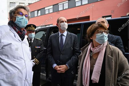 French Prime Minister Jean Castex (C) arrives with Prefect Michel Lalande (2-L) and Mayor of Lille Martine Aubry (R) at the Centre Hospitalier Universitaire (CHU) during his visit in Lille, France, 16 October 2020.