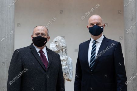 Polish Foreign Minister Zbigniew Rau (L) and Premier of Brandenburg Dietmar Woidke (R) meet in Berlin, Germany, 16 October 2020. Woidke meets Rau in the German capital city to discuss German-Polish relations and cross-border cooperation with a view to the corona pandemic.
