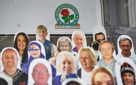 Stock Picture of Cut out fans in the Jack Walker stand as no fans are permitted into stadiums due to the Coronavirus pandemic