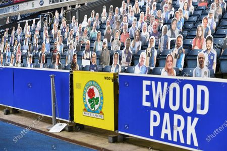 Cut out fans in the Jack Walker stand as no fans are permitted into stadiums due to the Coronavirus pandemic