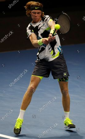 Andrey Rublev of Russia in action against Cameron Norrie of Great Britain during their quarter final match of the St.Petersburg Open ATP tennis tournament in St.Petersburg, Russia, 16 October 2020.