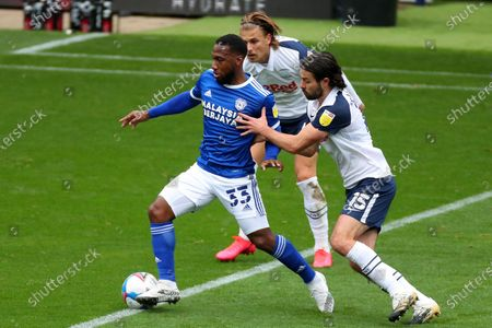 Stock Photo of Junior Hoilett of Cardiff City and Connor Ripley of Preston North End
