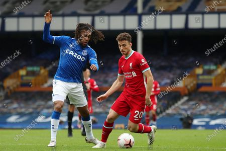 Stock Picture of Alex Iwobi of Everton and Diogo Jota of Liverpool