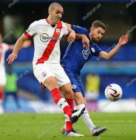 Oriol Romeu of Southampton  battles with Jorginho of Chelsea