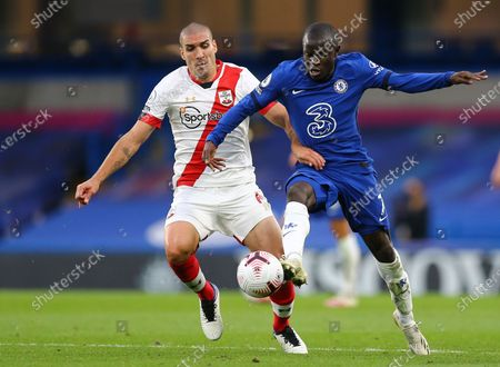 N'Golo Kante of Chelsea  battles with Oriol Romeu of Southampton
