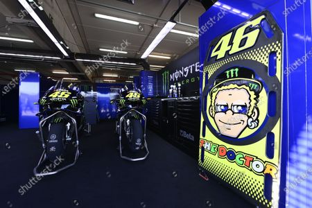 MOTORLAND ARAGON, SPAIN - OCTOBER 16: Bikes of Valentino Rossi, Yamaha Factory Racing during the Aragon GP at Motorland Aragon on October 16, 2020 in Motorland Aragon, Spain. (Photo by Gold and Goose / LAT Images)