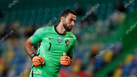 Portugal goalkeeper Rui Patricio runs during the UEFA Nations League soccer match between Portugal and Sweden at the Jose Alvalade stadium in Lisbon