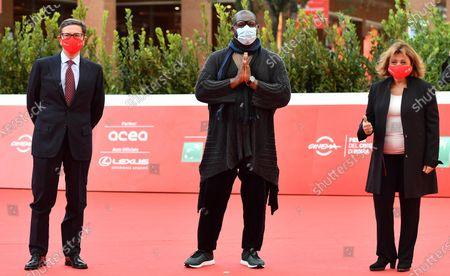 Steve McQueen (C), Rome Film Festival Artistic Director Antonio Monda (L) and Festival President Laura Delli Colli (R) attend the 15th annual Rome International Film Festival, in Rome, Italy, 16 October 2020. The film festival runs from 15 to 25 October.