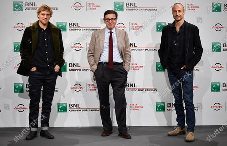 Rome Film Festival Artistic Director Antonio Monda (C) is flanked by US actor Johnny Flynn (L) and British Director Gabriel Range (R) as they pose during the photocall for the movie 'Stardust' at the 15th annual Rome International Film Festival, in Rome, Italy, 16 October 2020. The film festival runs from 15 to 25 October.