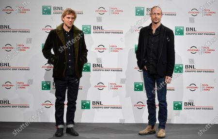 Johnny Flynn (L) and British Director Gabriel Range (R) pose during the photocall for the movie 'Stardust' at the 15th annual Rome International Film Festival, in Rome, Italy, 16 October 2020. The film festival runs from 15 to 25 October.
