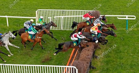 Stock Picture of SIR JACK YEATS (nearside, James Bowen) on his way to winning The Download The At The Races App Handicap Chase Fakenham