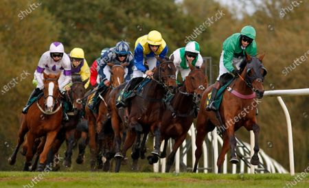 ECLAT DES MOTTES (right, James Best) leads A LITTLE CHAOS (centre) and eventual winner CARYS' COMMODITY (pink and green, Jonjo O'Neill Jr) during The Champions Day Form Study On attheraces.com/ascot Handicap Hurdle Fakenham