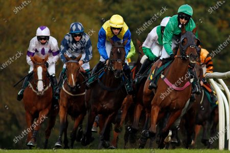 ECLAT DES MOTTES (right, James Best) leads A LITTLE CHAOS (centre) during The Champions Day Form Study On attheraces.com/ascot Handicap Hurdle Fakenham