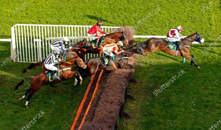 Stock Image of SIR JACK YEATS (right, James Bowen) leads PRINCETON ROYALE (centre) and FIXED RATE (left) in The Download The At The Races App Handicap Chase Fakenham