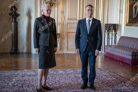 Queen Margrethe of Denmark receives Swiss Foreign Minister Ignazio Cassis (R) in Christian IX's Palace at Amalienborg, 16 October 2020.