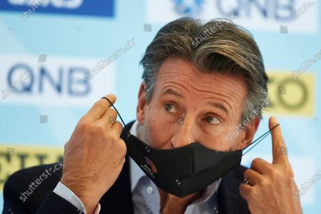 Stock Picture of World Athletics President Sebastian Coe puts on a protective face mask during a press conference before the World Athletics Half Marathon Championships Gdynia 2020, in Gdynia, north Poland, 16 October 2020. The World Athletics Half Marathon Championships take place on 17 October 2020.