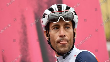 Italian rider Vincenzo Nibali of Trek-Segafredo team shows his tongue before the 13th stage of the 2020 Giro d'Italia cycling race over 192km from Cervia to Monselice, Italy, 16 October 2020.