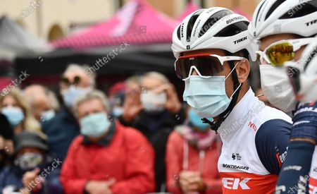 Italian rider Vincenzo Nibali of Trek-Segafredo team in aprotective face mask before the 13th stage of the 2020 Giro d'Italia cycling race over 192km from Cervia to Monselice, Italy, 16 October 2020.