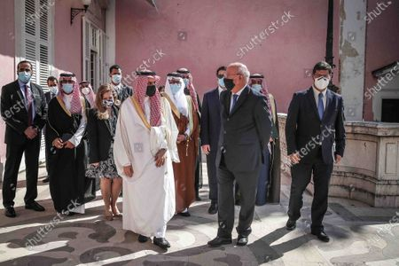 Portuguese Foreign Minister Augusto Santos Silva (C-R) accompanies by Saudi Foreign Minister Prince Faisal bin Farhan Al-Saud (C-L) after a meeting at Necessidades Palace, in Lisbon, Portugal, 16 October 2020.