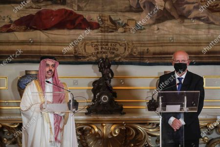Portuguese Foreign Minister Augusto Santos Silva (R) and Saudi Foreign Minister Prince Faisal bin Farhan Al-Saud (L) give a press conference after a meeting at Necessidades Palace, in Lisbon, Portugal, 16 October 2020.
