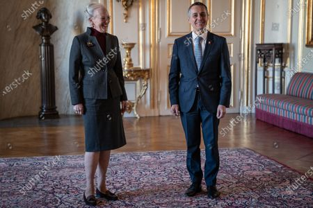Stock Image of Denmark's Queen Margrethe (L) receives Swiss Foreign Minister Ignazio Cassis in Christian IX's Palace at Amalienborg, Copenhagen, Denmark, 16 October 2020.