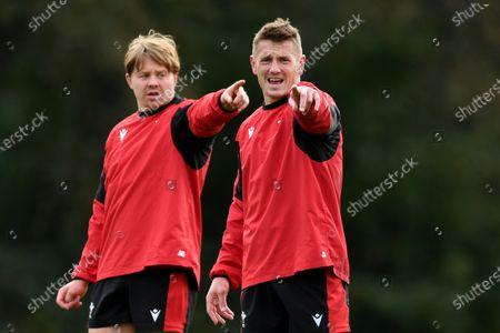 James Davies and Jonathan Davies during training.