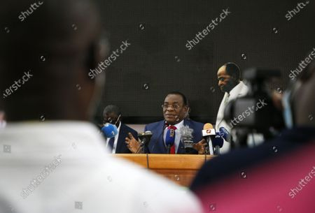 Presidential candidate of the Ivorian Popular Front (FPI), former Prime Minister Pascal Affi N'Guessan addresses journalists during a press conference of the coalition of the Ivorian opposition, in Abidjan, Ivory Coast, 16 October 2020. Opposition candidates challenging incumbent President Alassane Ouattara called for boycotting the electoral process ahead of the upcoming presidential elections on 31 October 2020.