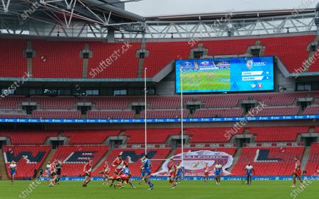 Stock Photo of Richie Myler of Leeds Rhinos runs with the ball inside an empty Wembley Stadium