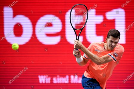Hubert Hurkacz of Poland in action during his quarter final match against Roberto Bautista Agut of Spain at the bett1HULKS Indoors tennis tournament in Cologne, Germany, 16 October 2020.