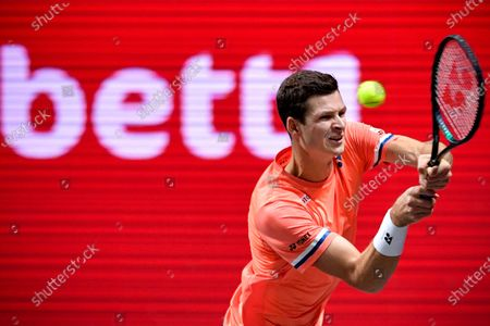 Stock Image of Hubert Hurkacz of Poland in action during his quarter final match against Roberto Bautista Agut of Spain at the bett1HULKS Indoors tennis tournament in Cologne, Germany, 16 October 2020.