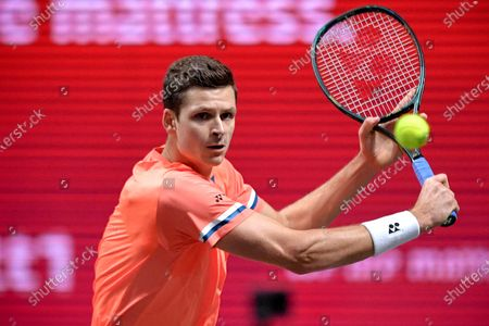Stock Photo of Hubert Hurkacz of Poland in action during his quarter final match against Roberto Bautista Agut of Spain at the bett1HULKS Indoors tennis tournament in Cologne, Germany, 16 October 2020.