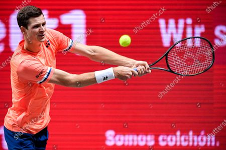 Stock Picture of Hubert Hurkacz of Poland in action during his quarter final match against Roberto Bautista Agut of Spain at the bett1HULKS Indoors tennis tournament in Cologne, Germany, 16 October 2020.