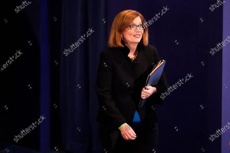 Susan Page, Washington Bureau Chief for USA Today, arrives to moderate the vice presidential debate between Democratic vice presidential candidate Sen. Kamala Harris, D-Calif., and Vice President Mike Pence, at Kingsbury Hall on the campus of the University of Utah in Salt Lake City