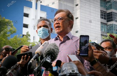 Malaysian opposition leader, Anwar Ibrahim speaks to media at the Bukit Aman police headquarters after questioning by police over his claim that over 120 Members of Parliament support his bid to form the next federal government. Total 113 police reports have been lodged against the opposition leader.