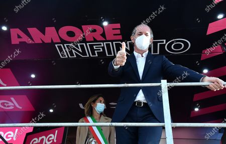 Luca Zaia, governor of Veneto region, gives a thumbs up during the award ceremonies of the 13th stage of the 2020 Giro d'Italia cycling race over 192km from Cervia to Monselice, Italy, 16 October 2020.